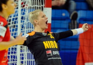 Romania's goalkeeper Paula Ungureanu celebrates her saving during the Main Round I match Spain vs Romania of the 2014 Women's European Handball Championships in Debrecen, Hungary, on December 15, 2014 .  AFP PHOTO / ATTILA KISBENEDEK